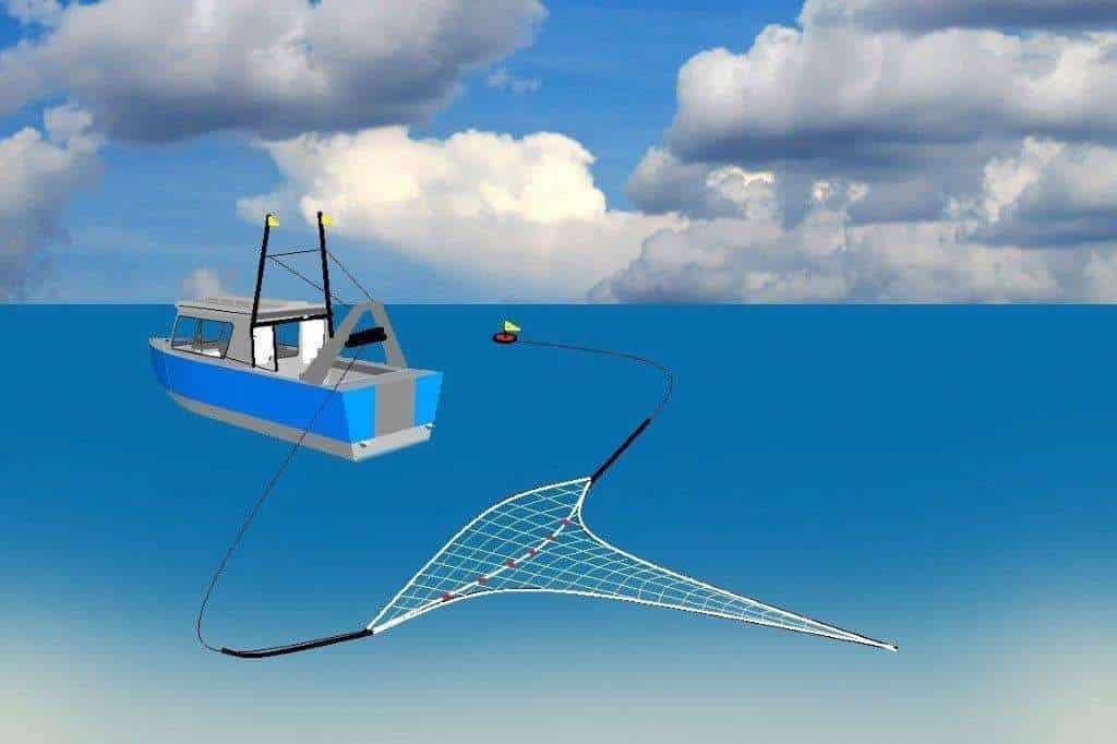 Een vissersboot die een net mee sleept